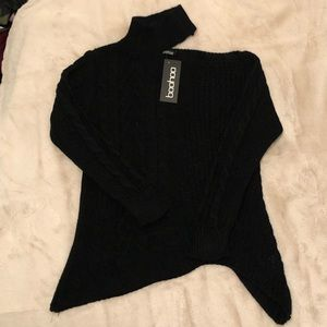 BooHoo asymmetrical cable knit sweater